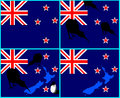 New Zealand flag, map, kiwi bird Royalty Free Stock Photography