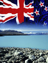 New Zealand - Flag - Mount Cook Royalty Free Stock Photo