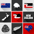 New zealand flat icon set vector graphic icons representing symbols and landmarks of the Stock Photography