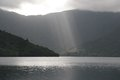 New zealand light rays at punga cove Royalty Free Stock Image