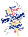 New zealand map and cities words cloud with larger Stock Image