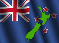 New Zealand map on flag Stock Photography
