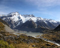 New zealand mountains the hooker river and valley in s southern alps the photo shows the hooker valley and river mount sefton the Royalty Free Stock Photography