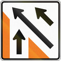 New zealand road sign merging traffic sign for minor road Royalty Free Stock Photos