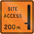 New zealand road sign works site access metres ahead on left Stock Image
