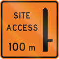 New zealand road sign works site access metres ahead on right Stock Photo