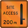 New zealand road sign works site access metres ahead on right Stock Image