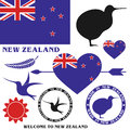 New zealand set isolated objects on white background vector illustration eps Stock Photos