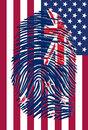 New zealand usa finger print flag Stock Image