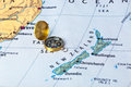 New Zeland map and compass Royalty Free Stock Photo