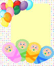 Newborn arrival, birthday card, baby frame Stock Photos