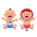 Newborn babies girl, boy crying shedding big tears