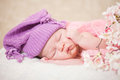 Newborn baby at the age of days sleeps in a knitted hat Royalty Free Stock Images