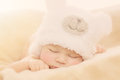 Newborn baby in bear hat portrait of boy wearing funny shape sleeping on soft beige cover Stock Photography