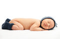 Newborn baby boy asleep over white background Royalty Free Stock Image