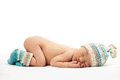 Newborn baby boy asleep over white background Royalty Free Stock Photos