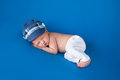 Newborn Baby Boy with Blue Cap Royalty Free Stock Photo