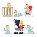 Newborn Baby Boy Cartoons Set. Character illustration