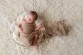 Newborn Baby Boy Sleeping in a Bowl Royalty Free Stock Photo