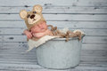 Newborn baby boy in a teaddy bear costume five day old wearing brown crocheted teddy hat and sleeping galvanized bucket shot the Stock Photography