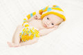 Newborn baby close up in woolen hat Royalty Free Stock Photos
