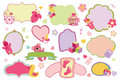 Newborn Baby girl badges,labels set.Baby shower Royalty Free Stock Photo