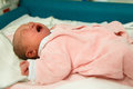 Newborn baby girl crying Royalty Free Stock Photo