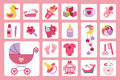 Newborn baby girl icons set baby shower cute flat for cartoon design elements infographic vector Stock Photos