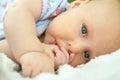 Newborn Baby Girl Laying Down Sucking Her Thumb Royalty Free Stock Photo
