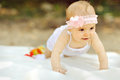 Newborn baby girl in park outdoors Royalty Free Stock Photos