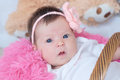 Newborn baby girl portrait in pink blanket lying in basket, cute face, new life Royalty Free Stock Photo