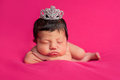Newborn Baby Girl with Rhinestone Tiara Royalty Free Stock Photography