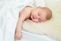 Newborn baby girl sleeping fur bed Royalty Free Stock Photography