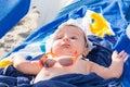 Newborn baby girl sunbathing Royalty Free Stock Photo