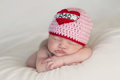 Newborn Baby Girl Wearing a Royalty Free Stock Photography