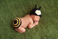 Newborn baby girl wearing a bee costume day old black and yellow crocheted bumblebee sleeping on green plush blanket Stock Photography