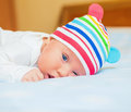 Newborn baby in the hat ... Stock Photo