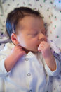 Newborn baby in hospital boy portrait while still Stock Photography