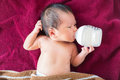Newborn baby infant eating milk from bottle. Royalty Free Stock Photo