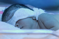 Newborn baby with neonatal jaundice under blue UV light Royalty Free Stock Photo