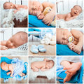 Newborn baby photos collage of a sweet Stock Photos