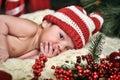 Newborn baby  santa Royalty Free Stock Photo