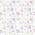 Newborn baby shower seamless pattern boy girl birthday celebration party Royalty Free Stock Photo