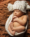 Newborn Baby Sleep, New Born Kid Sleeping Hat, One Month Child Royalty Free Stock Photo