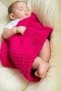 Newborn baby sleeping in bed Royalty Free Stock Photo