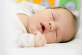 Newborn baby sleeping closeup portrait of Royalty Free Stock Photography