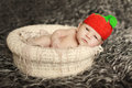 Newborn baby sleeping on fur in the basket in funny hat like berry or tomato Royalty Free Stock Photo