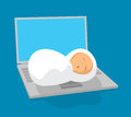 Newborn baby sleeping on laptop computer