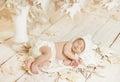 Newborn Baby Sleeping On Leave...