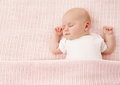 Newborn Baby Sleeping, New Born Kid Girl Sleep on Pink Royalty Free Stock Photo